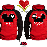 Mickey and Minnie Faces Kissing Inspired Soul Mate Love Couple Disney Perfect Matching Love Set Hoodie Sweatshirt - Price For 1 Hoodie -