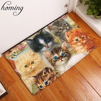 Cute Colorful Animal Friends Non-Slip Fleece Mat