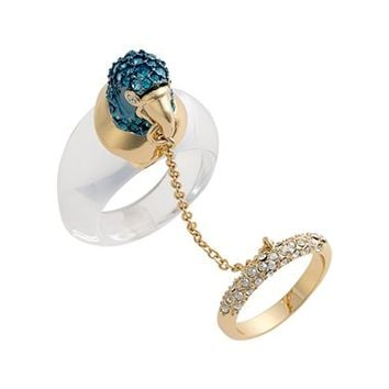 Alexis Bittar Crystal Parrot Chain Ring | Nordstrom