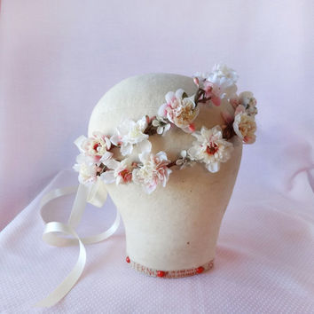 ivory wedding headpiece, pink floral hair wreath - SHEPHERDESS - photo prop, flower girl head wreath