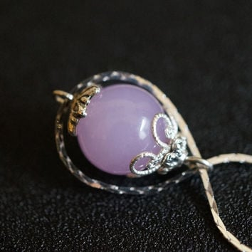 Infinity Purple Chalcedony Necklace Silver  Bridesmaid Jewelry  Bridesmaid Gift Yoga Necklace  Infinity Stone Necklace