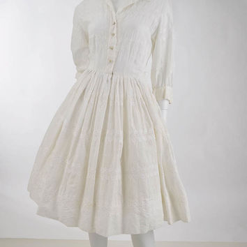 1960s Embroidered White Shirtwaist Dress-S