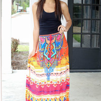Free Spirit Maxi Skirt - Orange Sunset