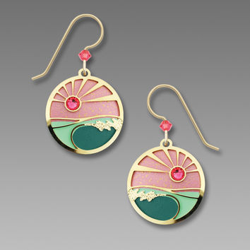 Adajio Earrings - Coral and Turquoise Sunset Colors with Gold Plated Foamy Waves Overlay