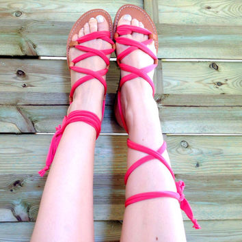 Gladiator Sandals - Hot Pink Jersey