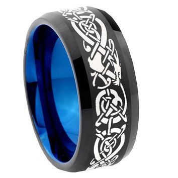 8mm Celtic Dragon Bevel Tungsten Carbide Blue Mens Promise Ring