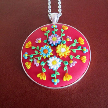 red colorful statement necklace,red flower necklace,polymer clay jewelry,artisan pendant red,red cameo necklace,filigree,gift ideas for mom