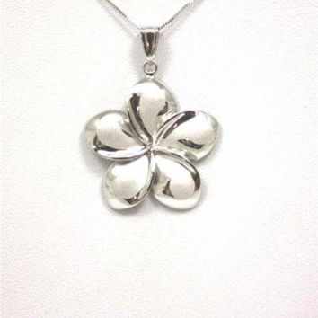 25MM SOLID 14K WHITE GOLD HAWAIIAN FANCY PLUMERIA FLOWER PENDANT CHARM