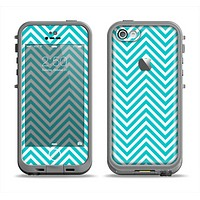 The Trendy Blue & White Sharp Chevron Pattern Apple iPhone 5c LifeProof Fre Case Skin Set