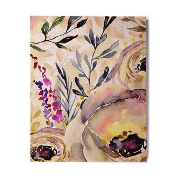 "Mmartabc ""Watercolor Flowers And Leaves"" Beige Pink Illustration Birchwood Wall Art"
