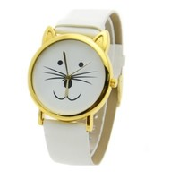 Aceshin Women's Cat Beard Synthetic Leather Bracelet Wrist Watch