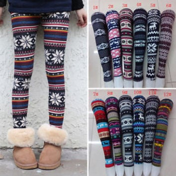 New Women Girl Fair Isle Pattern Winter Knitted Snowflake Leggings Tights Pants