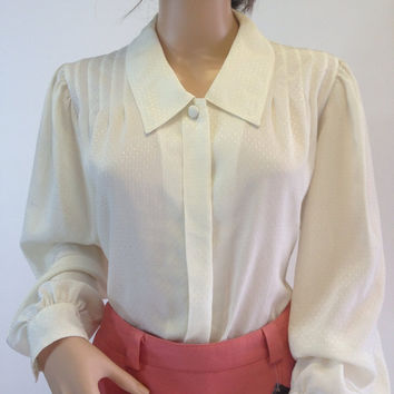 80s Pintuck Yoke Ivory Oversized Blouse, Chelsea Collar, Silky Shimmery Dots, Size 10 by SK and Company
