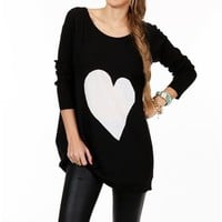 Pre-Order: Black/White Long Sleeve Heart Tunic