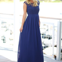 Navy Crochet Maxi Dress with Tulle Back