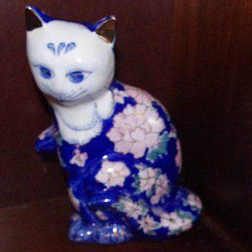 "Vintage Chinese ""Good Luck Kitty"" Hand Painted Blue and White Porcelain/ Cat Sculpture - FREE Shipping USA only"