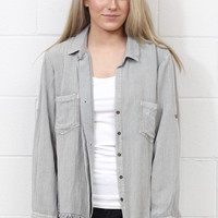Split Back + Frayed Hem Button Down {Cool Grey}