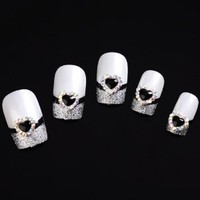 Yesurprise Black Heart 10 pieces Silver 3D Alloy Nail Art Slices Glitters DIY Decorations