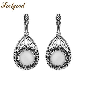 Feelgood Fashion Jewelry Antique Silver Color Vintage Earring White Opal Natural Stone Earrings For Women Party Mother Gift