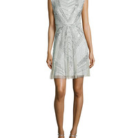 Sleeveless Beaded Art Deco Cocktail Dress, Size: