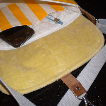 Maycas Daily Messenger Bag in Yellow stripes by maycascollection