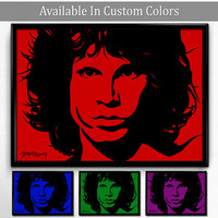 Jim Morrison Poster Pop Art Portrait Red and Blue Multiple Sizes & Files