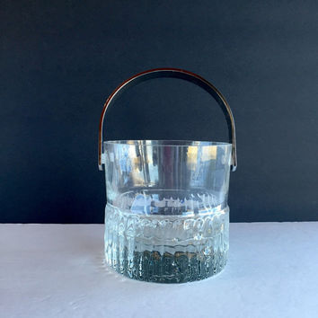 Vintage Kosta Boda Sweden Rurik Ice Bucket, Mid Century Modern Textured Glass Ice Bucket by Kosta Boda