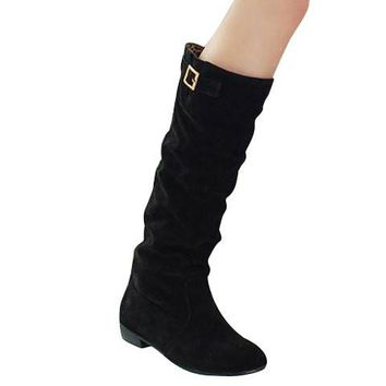 Black Back Buckled Mid-Calf Boots