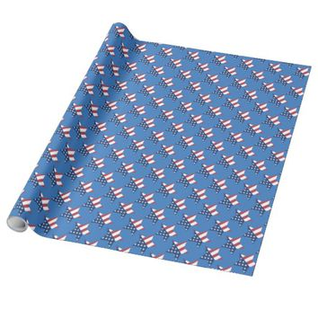 Patriotic Star Pattern Print Wrapping Paper