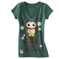 Junior's Owl Be Home For Christmas Graphic Tee - Green