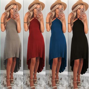 Sexy Strapless Sling Irregular Dress