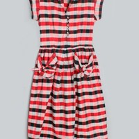 1950's Red Plaid Pockets Day Dress - M 50's VINTAGE DAY DRESSES & PARTY DRESSES :