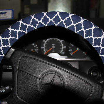 Navy and White Steering Wheel Cover . Womens Wheel cover . Car Accessories .