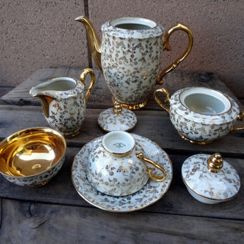 Vintage Johann Haviland R. Bavaria, Ivory And Gold, Coffee, Tea Set, Coffee Pot, Creamer, Sugar, 2 Cups, 1 Saucer