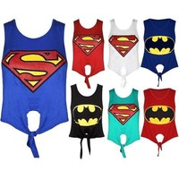 LADIES SUPERMAN ALL COLOR CROP TIE TOPS