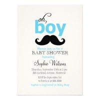 Blue It's a Boy Mustache Baby Shower Invitations