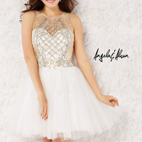 Angela & Alison 52040 High Neck Cocktail Short Homecoming Prom Dress $399