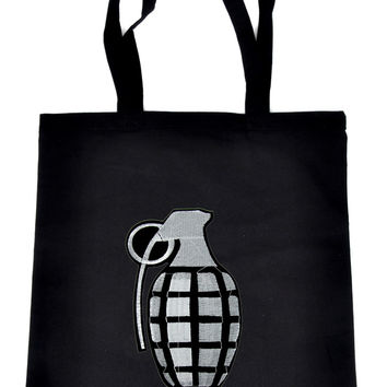 Black Ops Granade on Black Tote Book Bag Punk Rock Handbag