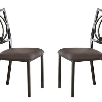 Metal & Fabric Dining Side Chairs, Black & Chocolate Brown, Set Of 2