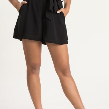 Emerie Black Paperbag Shorts