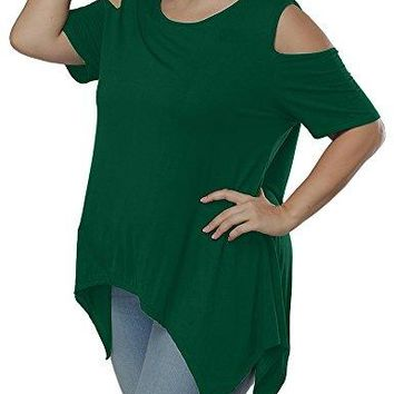 Allegrace Women Plus Size Swing Flowy Cold Shoulder Casual Long Top Summer T Shirt
