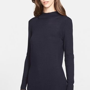 Women's St. John Collection Lightweight Jersey Knit Mock Neck Sweater,