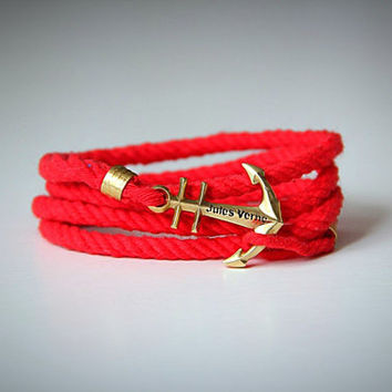Bright red anchor bracelet. Nautical bracelet . Unique summer accessory. Anchor jewelry.Men bracelet. Women bracelet.