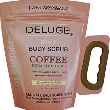 Organic Coffee Body Scrub, Tightens, Tones, Reduces Cellulite 100% Natural 10 OZ by DELUGE--NEW PACKAGING by DELUGE