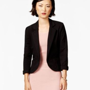 Bar III Notched-Lapel Ponte-Knit Cropped Blazer | macys.com