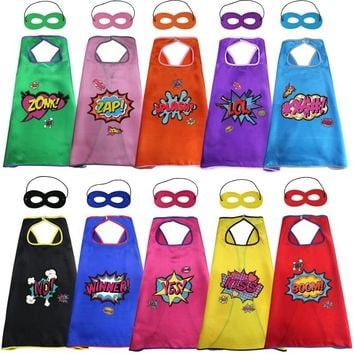 10 pcs SPECIAL 70*70 cm Super Heroes Party Capes Masks Stickers Costumes For Girls Cosplay Christmas Gifts Wedding Costumes