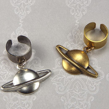 Planet Saturn Ear Cuff, Silver Plated or Antiqued Brass