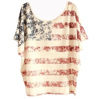 Women's American US Flag USA Stars Stripes Loose T-shirt Free Size White