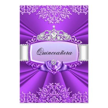 Princess Tiara & Damask Quinceanera Invitation