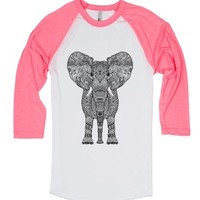 Pink Aztec Elephant-Unisex White/Neon Heather Pink T-Shirt